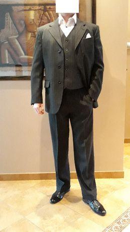 garnitur 3 cześciowy czarny w paski, Eldorado z Sanset Suits,176/96