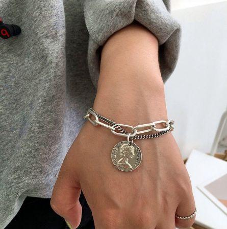 стильный двойной браслет цепочка