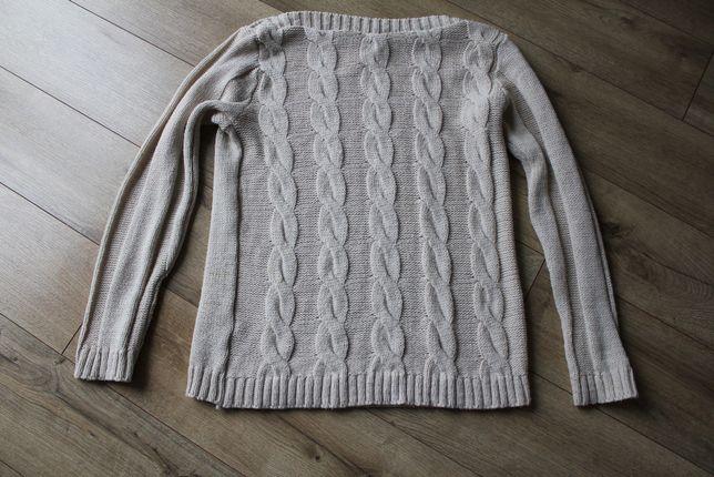 Beżowy sweter ze złotą nitką 40 L, dzianinowy sweter warkocze 40 L