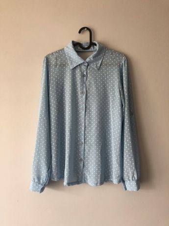 Błękitna pastelowa koszula w kropki długi rękaw baby blue