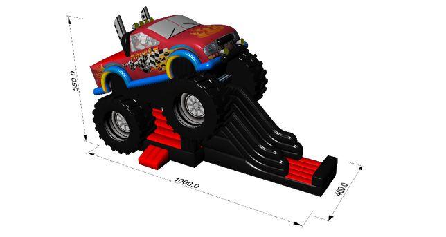 Dmuchaniec Monster Truck - dmuchana zjeżdżalnia