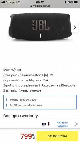 Sprzedam Glosnik JBL Charge 5 czarny. NOWY!! 24msc gwarancji