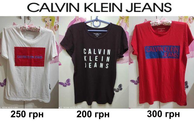 Брендовая базовая универсальная футболка calvin klein С-М-Л