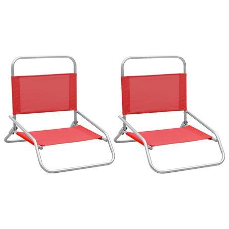 vidaXL Cadeiras de praia dobráveis 2 pcs tecido vermelho 310367
