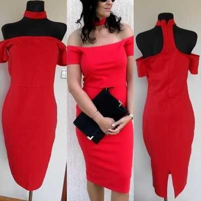 Czerwona ołówkowa sukienka AMISU roz 38
