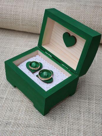 Pudełko na obrączki ślubne butelkowa zieleń