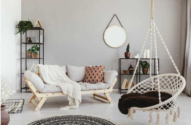 Садовое подвесное кресло-качалка BOHO бежевый /черный цвет