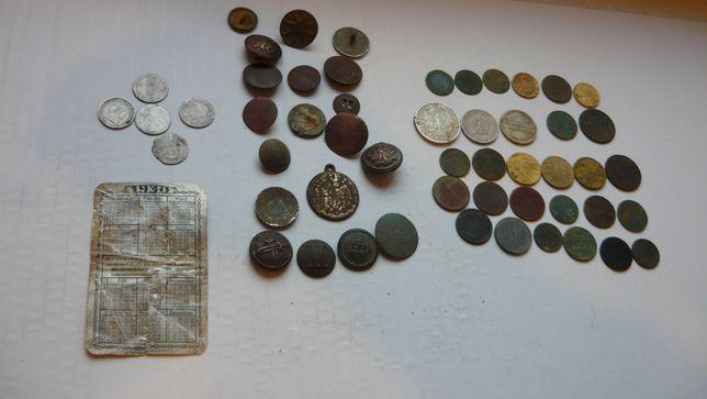 Zestaw szufladowy,kalendarz ,guziki,monety.
