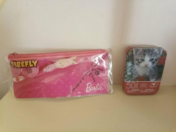 Набор девочке зубная щетка Firefly Барби в футляре, пазлы Cardinal