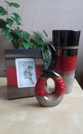 czerwono-brązowy ceramiczny komplet ( home&you)