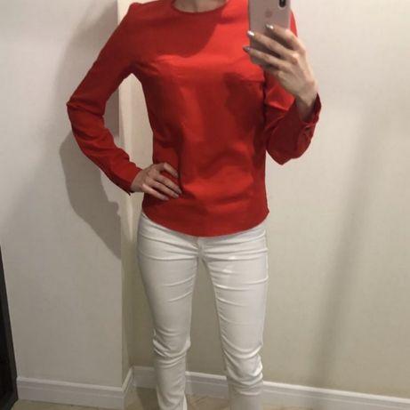 Блузка красная нарядная строгая длинный рукав на пуговицах Zara Next