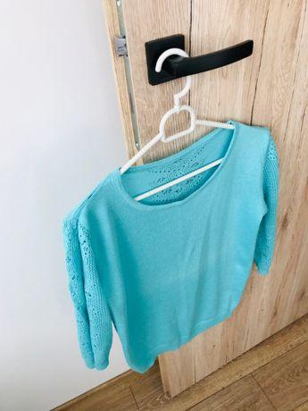 Sweter cienki z koronką turkus rozmiar S