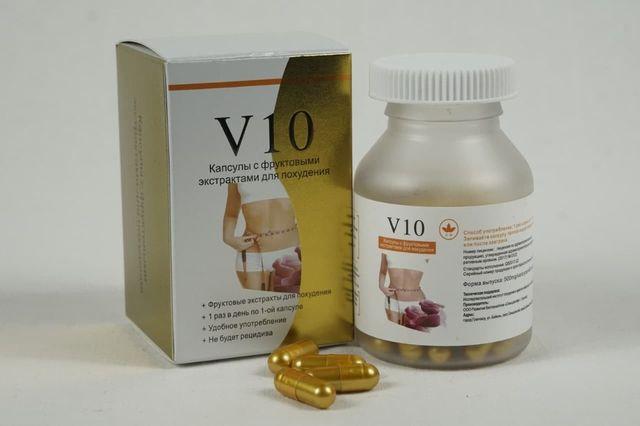 V10 в банке для похудения с фруктовыми экстрактами в области живота