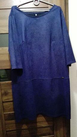 Elegancka sukienka zamszowa granatowa r. 48 NOWA