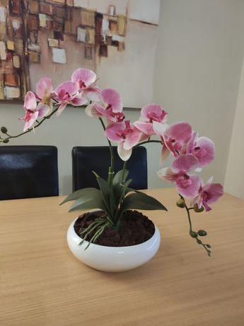 Vaso com 2 hastes de orquídea artificias