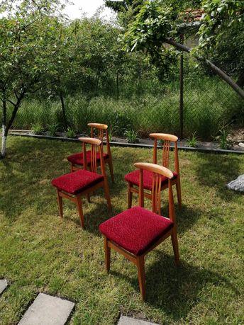 Krzesła drewniane, tapicerowane, PRL