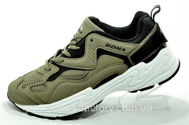 Мужские повседневные кроссовки Bona, Хаки/Белый (Нубук)