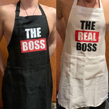 Фартук с надписью Босс и настоящий босс.