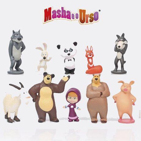 Conjunto de 10 figuras Masha e o Urso, novo
