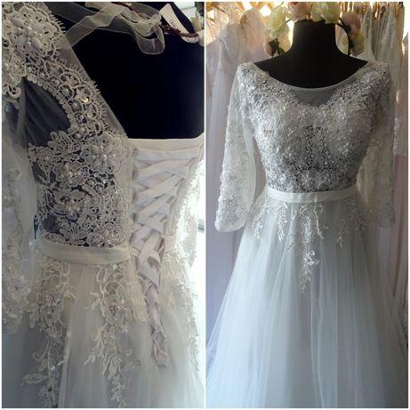 nowa suknia ślubna z rękawem 3/4 tiulowa zdobiona koronkowa 36