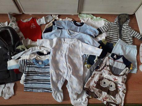 Mega paka wyprawka śpiochy body pajace bluzy bluzki 50/56 noworodek