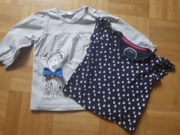 PAKA 2 x bluzeczka bluzka 9-12 mcy 74 -80 cm