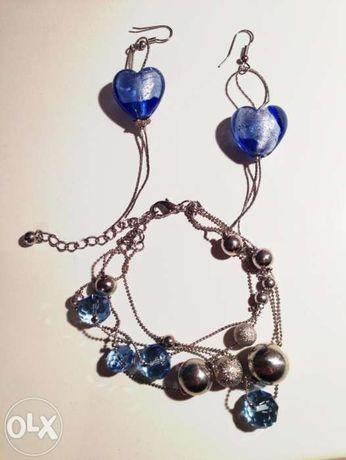 Kolczyki niebieskie serca + bransoletka