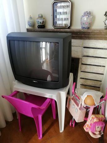 TV PHILIPS 55cm, formato Crt, 2 fichas Scart, +1 AV3 frontal. Stereo.