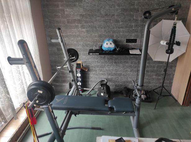 Ławka treningowa + obciążenie 30kg+ wyciąg + modlitewnik (Jak nowa)