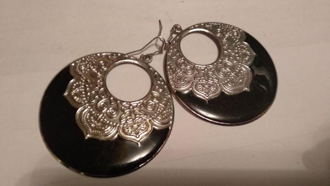 серьги женские крупные под серебро с черным сережки ажурные из испании