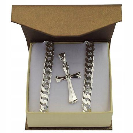 Łańcuszek Srebrny Z Krzyżykiem 7,50 MM. + GRAWER -50%
