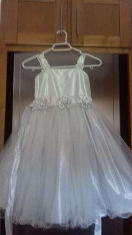 Vestido lindíssimo para cerimónia prateado para menina 7-8 anos novo