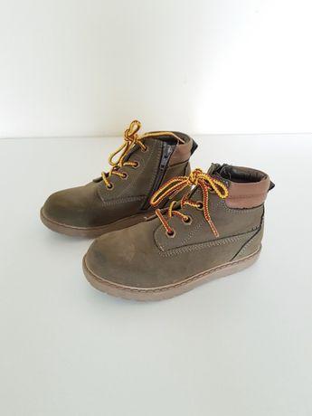 F&F buty chłopięce jesienno zimowe khaki trapery r. 28