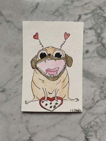 Kartka okolicznościowa miłość serde walentynki mops mopsik pug h