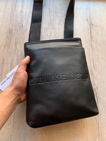 Чоловіча сумка Calvin Klein Мужская барсетка через плече шкіряна