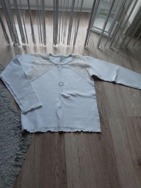 Biała bluzka z długim rękawem dziewczęca