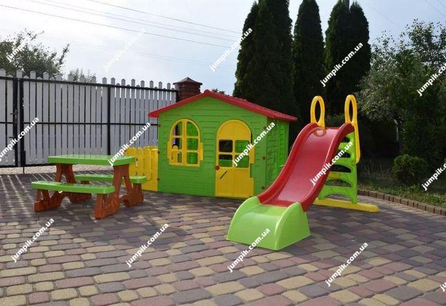 Дитячий будиночок, детский домик Mochtoys 10498+горка11887+столикик 1