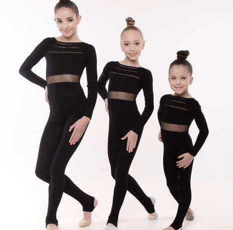 Купальник комбинезон для танцев и гимнастики черный
