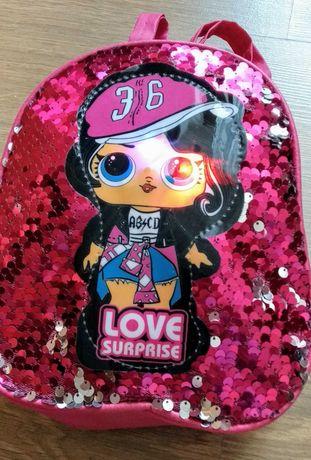 Рюкзаки с куклой LOL(мигающие глазки) с пайетками