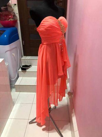 Piękna koralowa suknia xs