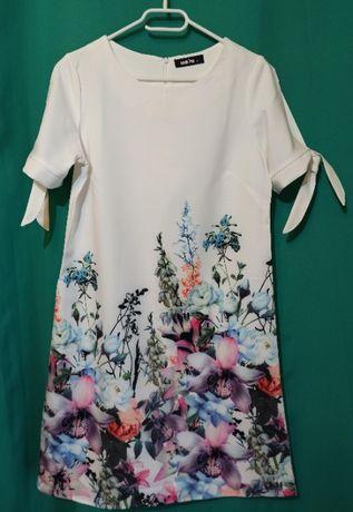 Sukienka biała - kwiaty - rozmiar L - śliczna i wiosenna!