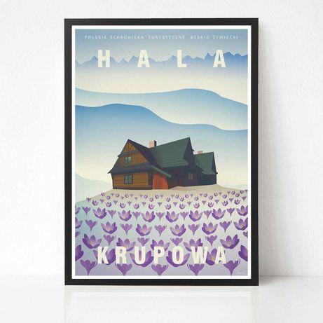 Plakat Hala Krupowa seria grafik Polskie Schroniska Turystyczne