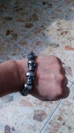 мужской браслет черепа серебро 925 вес 118 гр.