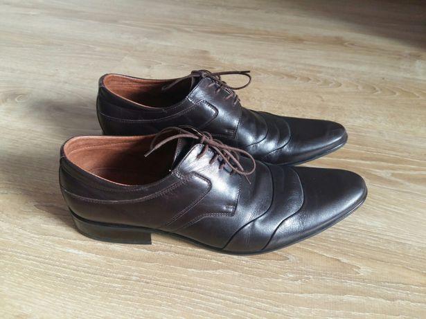 Skórzane buty męskie brązowe do garnituru
