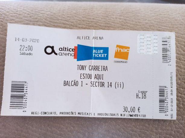 Bilhete para concerto de Tony Carreira - Lisboa 27 de Novembro