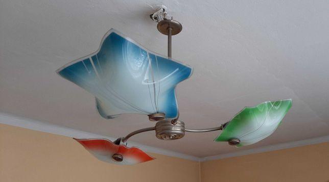 Lampa Żyrandol kolorowe szkło PRL vintage