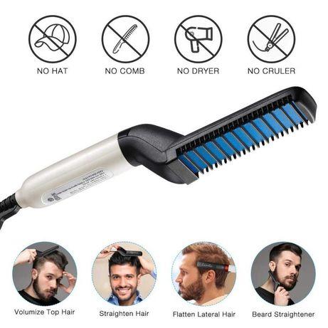 Стайлер для укладки волос и бороды расческа выпрямитель утюжок для муж