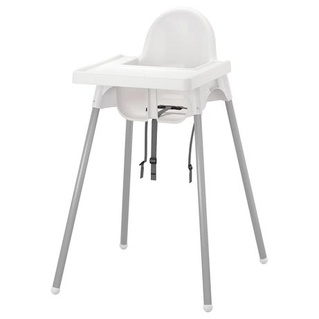 Cadeira alta criança IKea branca e prateada