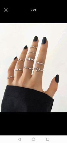 Pack Anéis prata / dourado 9 unidades