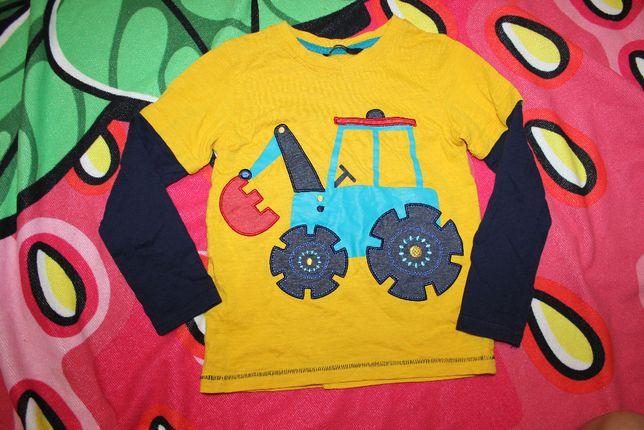 Кофта реглан лонгслив жёлтая трактор на 5-6 лет